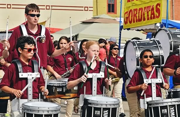 Floresville High School marching band at the Peanut Festival
