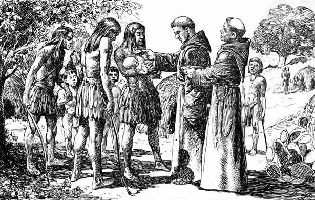 Spanish missionaries baptizing Native Americans