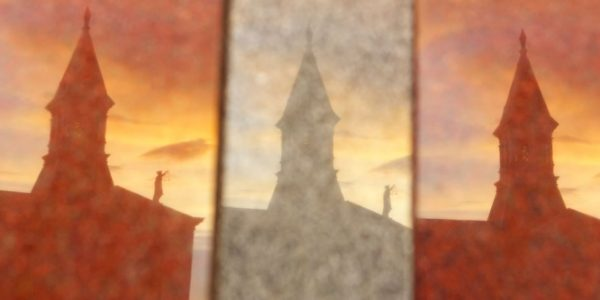 Reflection of Wilson County Courthouse in Floresville, Texas