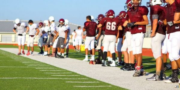 Football practice at Floresville High School