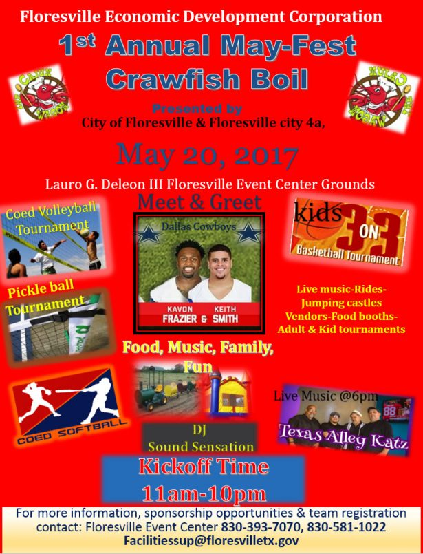 1st annual may fest crawfish boil may 20 2017 city of floresville music family and fun at the floresville event center coed and kids sports tournaments meet greet dallas cowboys kavon frazier and keith smith m4hsunfo