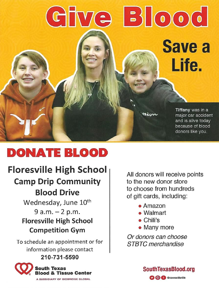 Floresville High School Camp Drip Community Blood Drive, June 10, 2020