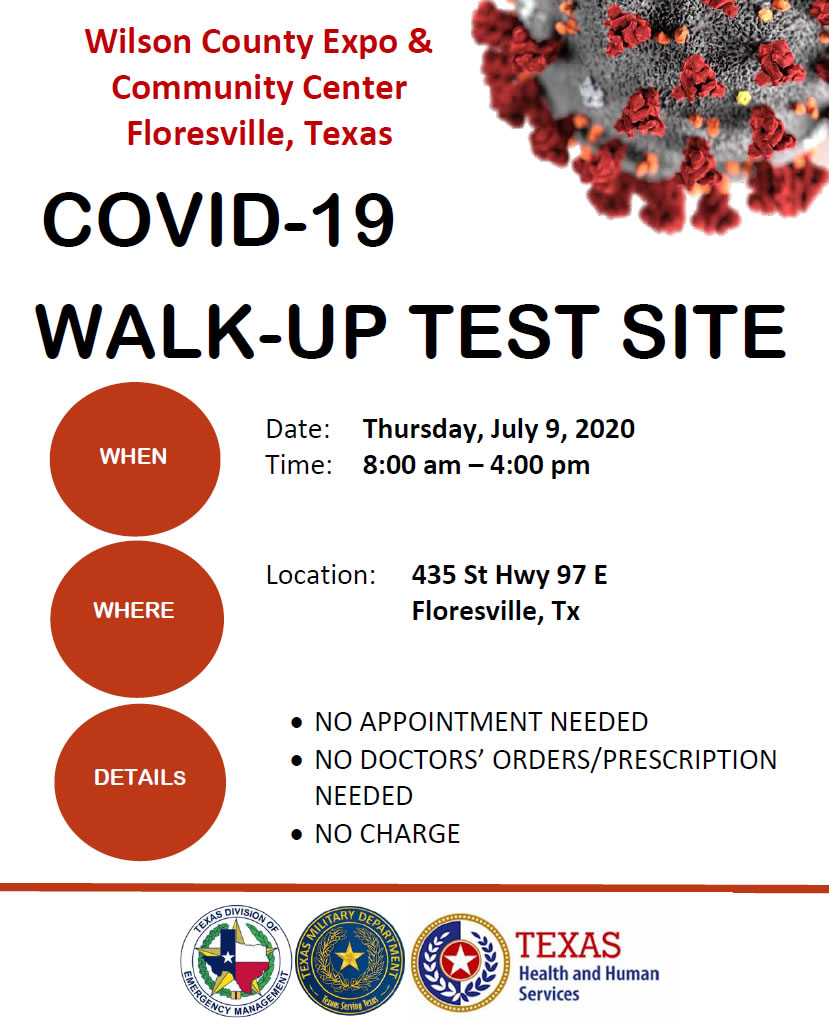 COVID-19 Walk-Up Testing, Thursday, July 9, Floresville, Texas
