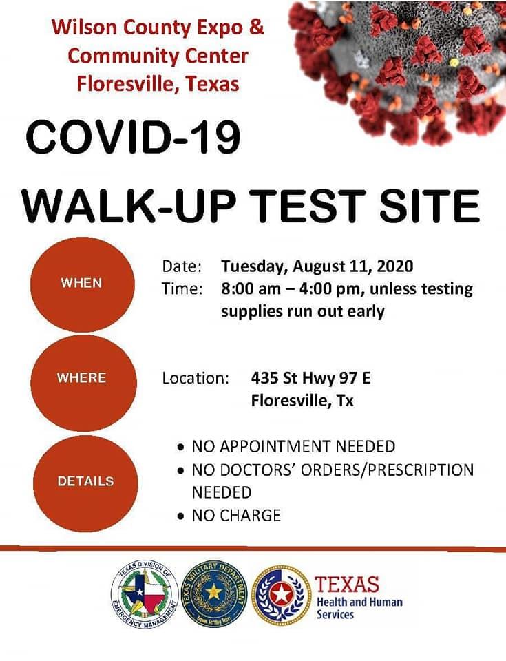 COVID-19 Free Walk-Up Test Site, Floresville, Texas