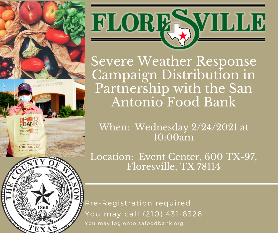 Food Bank distribution event in Floresville, Wednesday, February 24, 2021