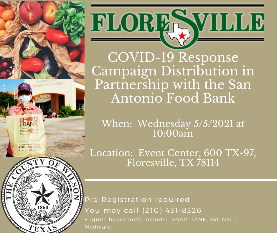 Food Bank distribution event in Floresville, Wednesday, May 5, 2021